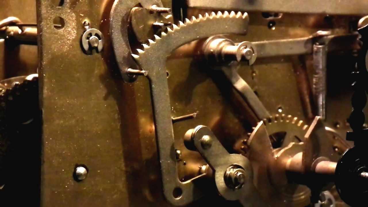 Grandfather Clock Mechanism Closeup On Main Hour Chime