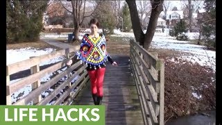 DIY poncho made from recycled bottle caps