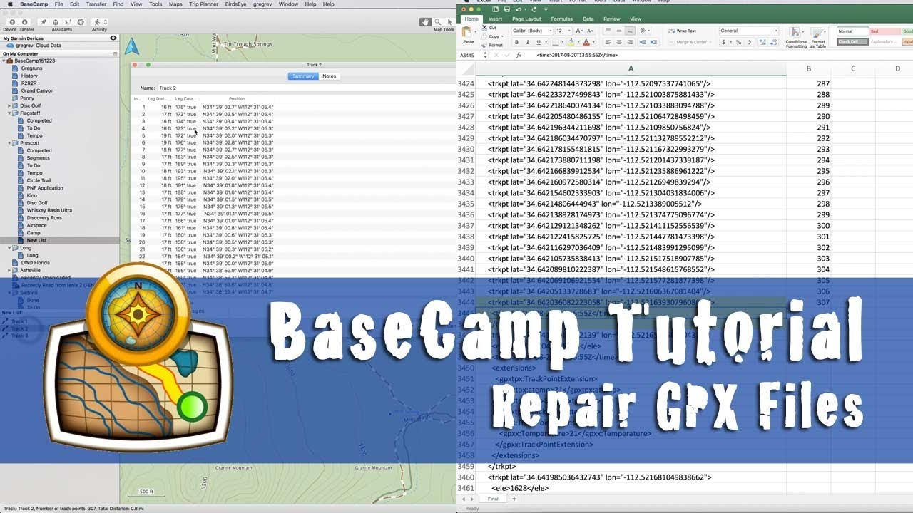 HOW TO REPAIR or MODIFY GPX FILES w/ MISSING DATA (using BaseCamp and Excel)