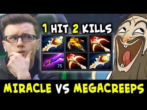 Miracle 2x RAPIER Kunkka vs Megacreeps — 1 hit Double Kill is enough?