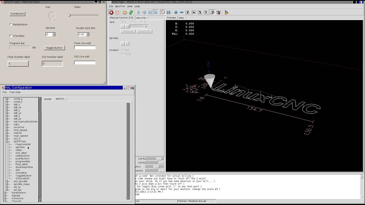 Qt4 Virtual Control Panel for Linuxcnc - YouTube