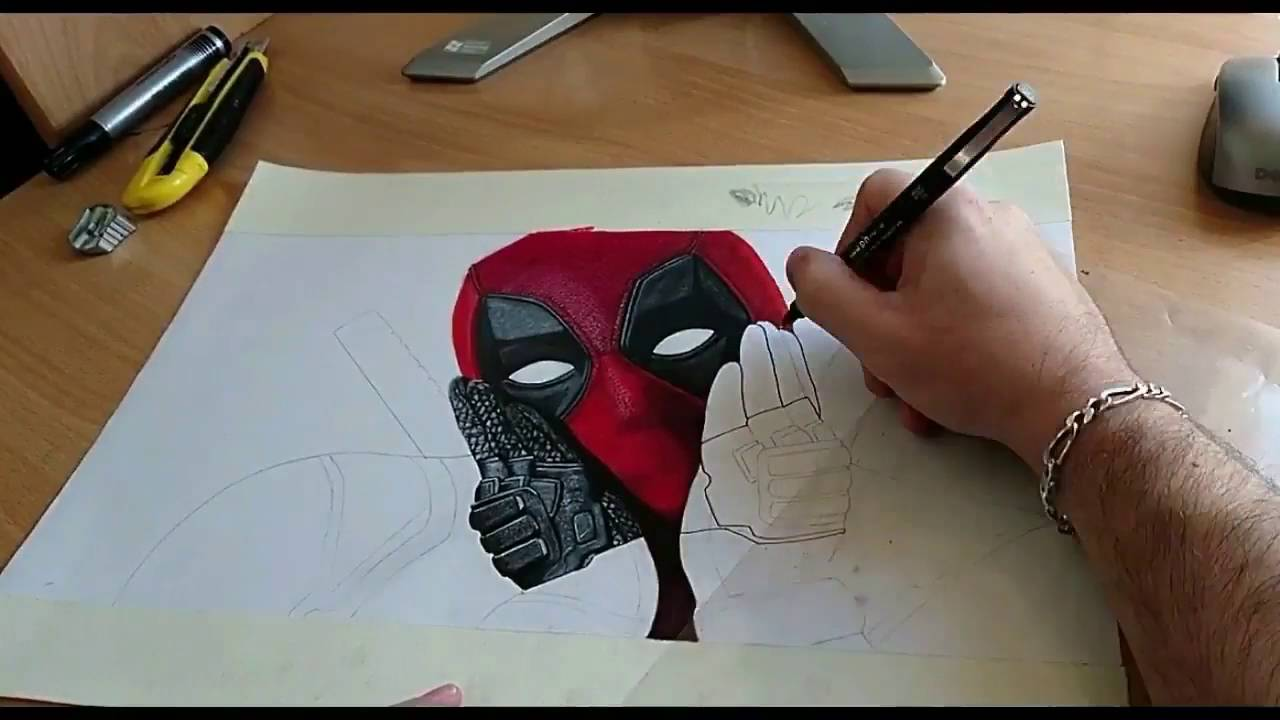 Dessin speed drawing r alisation deadpool youtube - Dessin deadpool ...