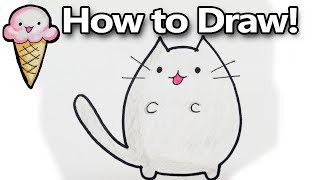 How to Draw Pusheen a Cute Kawaii Cat Cartoon! Drawing Tutorial  | DoodleDrawCute