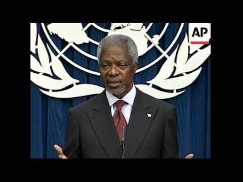 UN Sec'y Gen on upcoming Darfur visit, ICC, Afghan elex