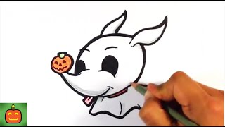 How to Draw a Cute Zero from Nightmare Before Christmas - Halloween Drawings