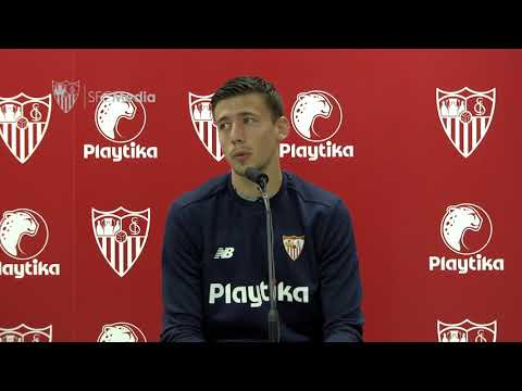 Lenglet previa Sevilla FC - Manchester United. 19/02/18. Sevilla FC
