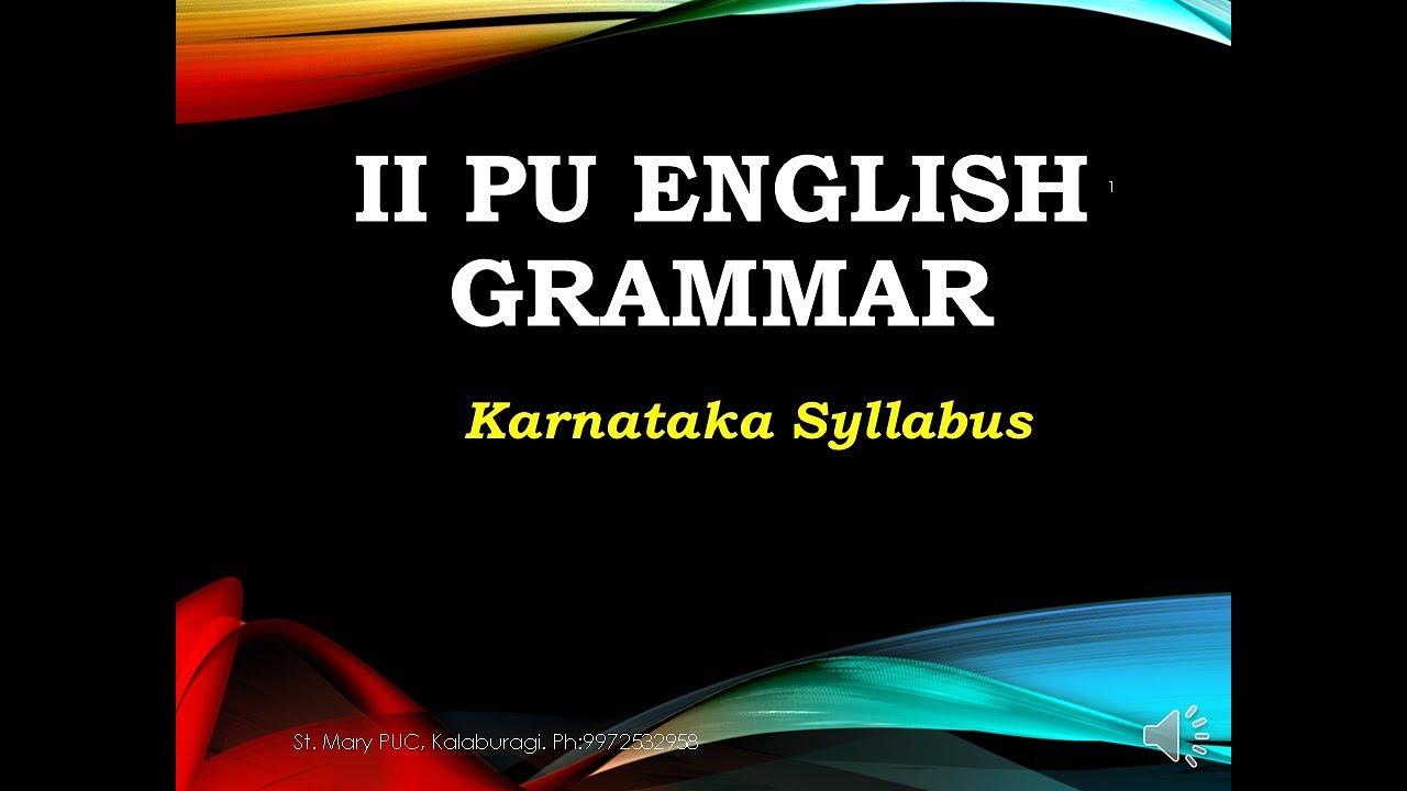 English Grammar for II PU students