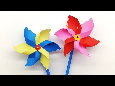 Paper Windmill - How to make a Paper Pinwheel for Kids