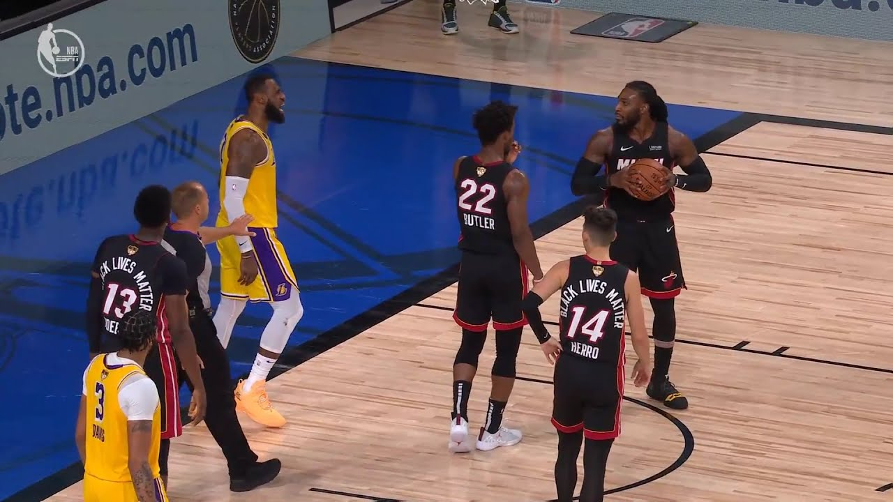 LeBron James has some words for Jae Crowder after a couple of hard fouls