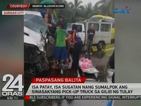Isa patay, isa sugatan nang sumalpok ang sinasakyang pick-up truck sa gilid ng tulay