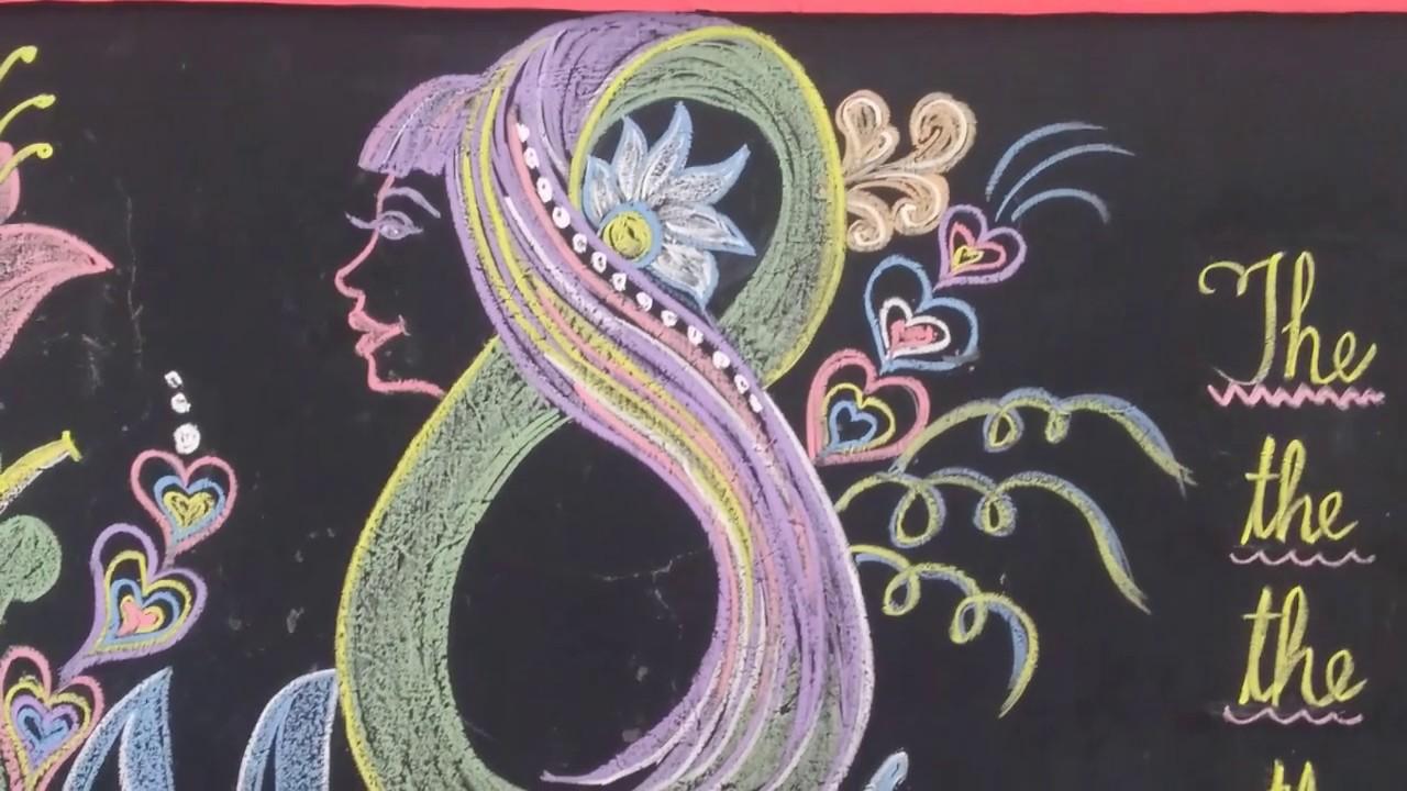 School black board decorations for happy women\'s day/Blackboard decorations  ideas/chalkboard art