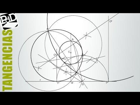 Tangentes a una recta y una circunferencia pasando por un punto. 4 soluciones (2 de 2).