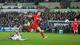 jordan henderson goal swansea vs liverpool 0 1 16 march 2015