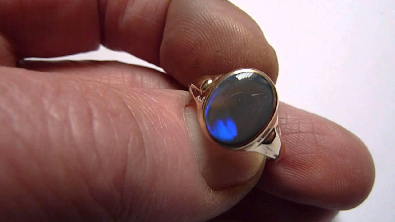 Vintage 9ct Gold Natural Royal Blue Flash GentsMens Opal Ring