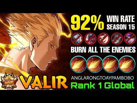 92% Win Rate S15 Valir Burn All His Enemies - Top 1 Global Valir ANGLARONGTOAYPAMBOBO - ML