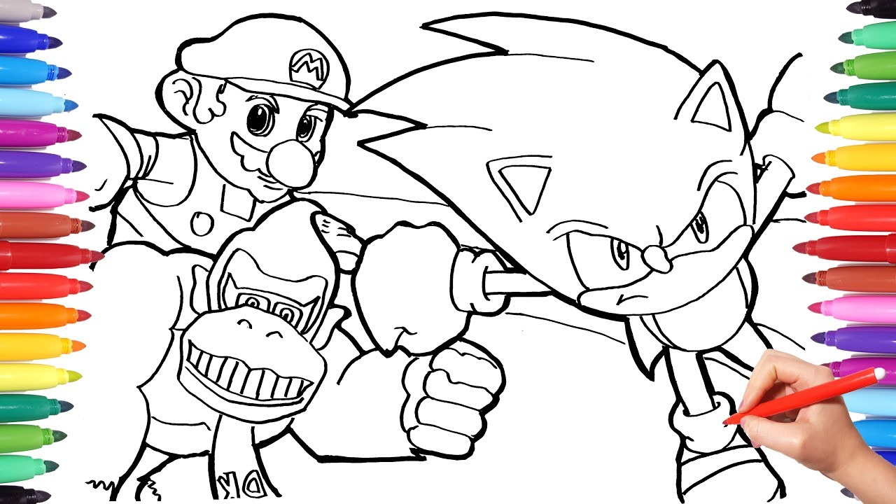 It's just an image of Adorable Mario And Sonic Coloring Pages