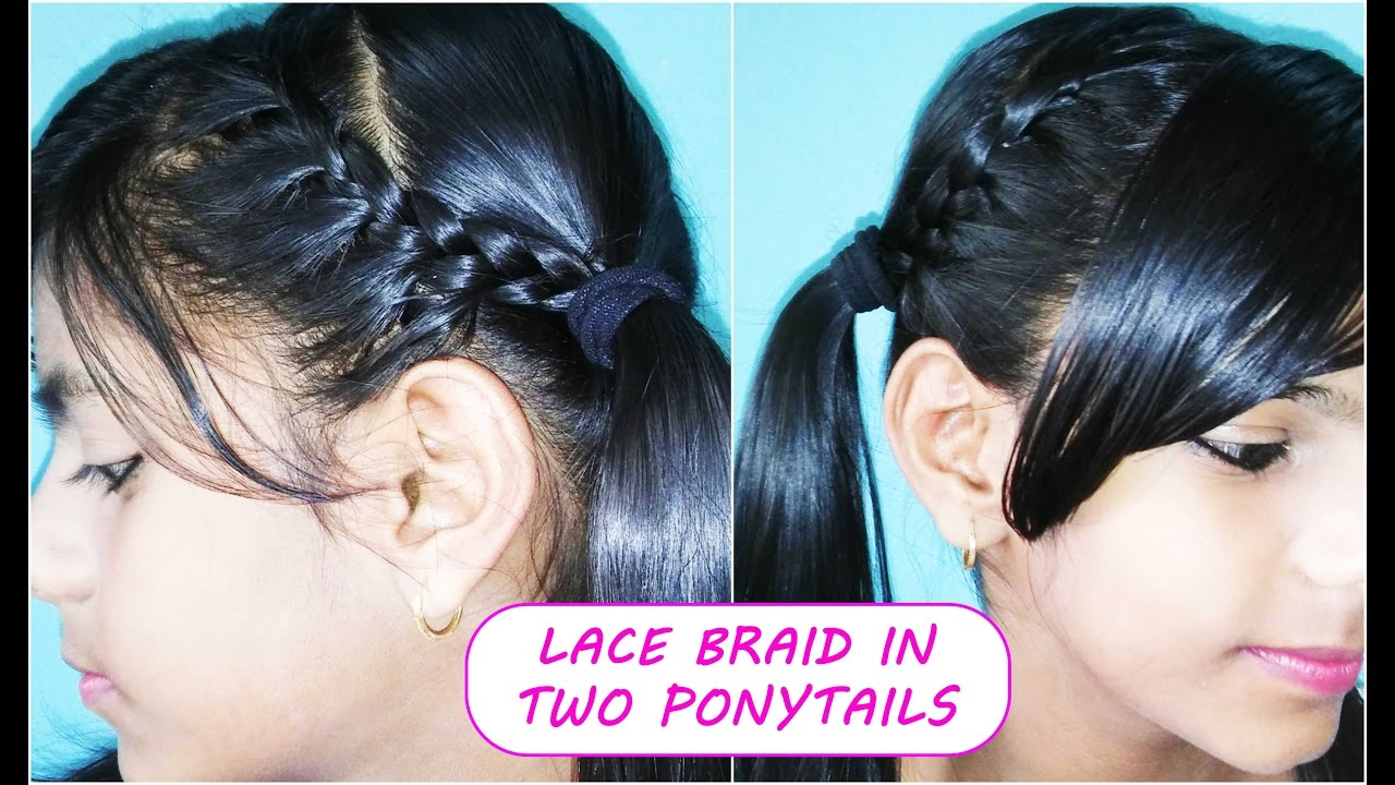 lace braid in two ponytails (pigtail) back to school | easy everyday hairstyles for school kids