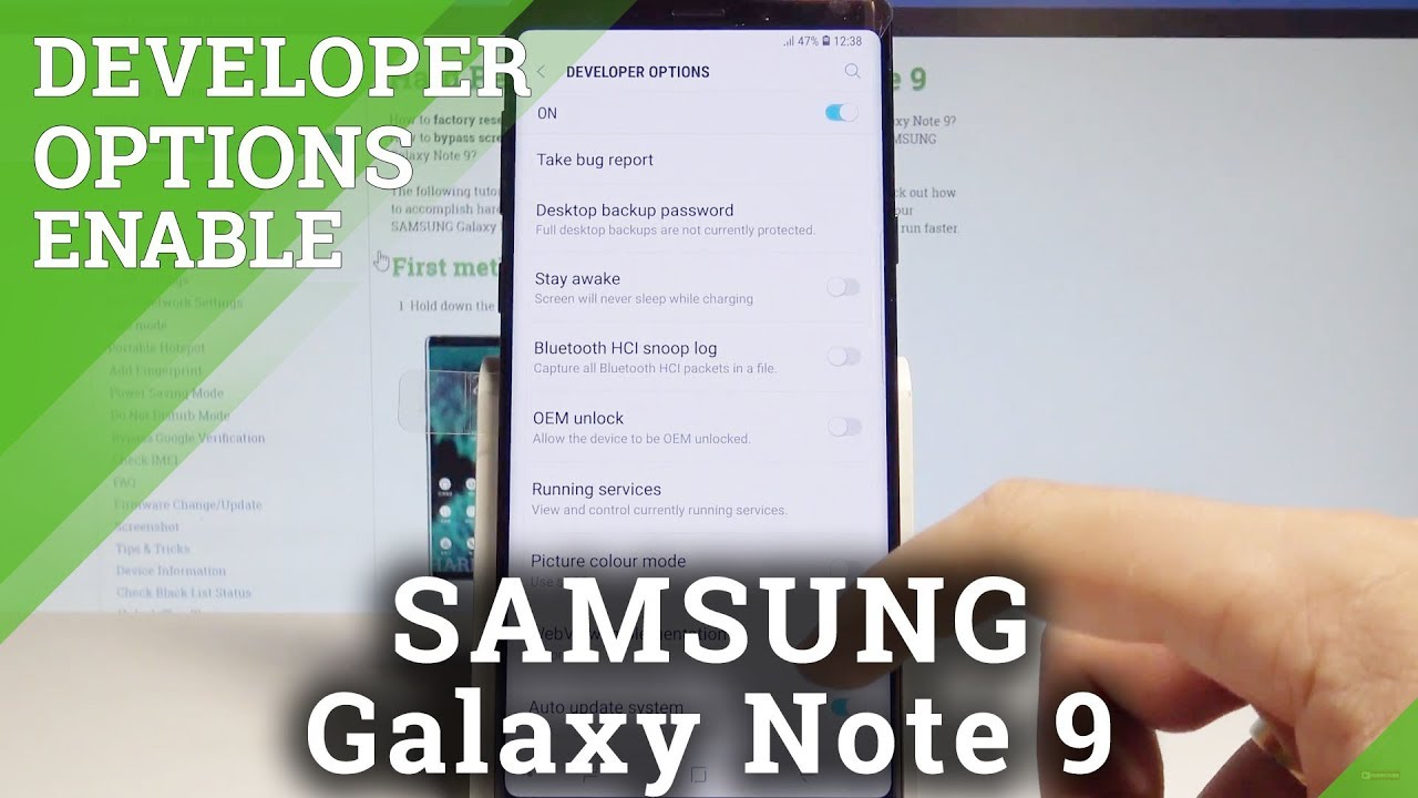 How to Enable Developer Options SAMSUNG Galaxy Note 9 - Allow OEM Unlock /  USB Debugging