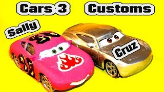 Pixar Cars 3 Custom Primer Cruz Ramirez and Sally Demolition Derby Crazy 8 Learn Colors McQueen