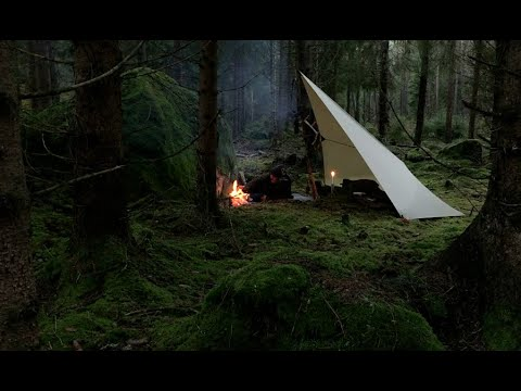 OFF THE BEATEN PATH - 3 days solo bushcraft, 2 camps wilderness trip, hiking in rain and cold wind