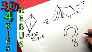 Easy Rebus Cartoon Drawing and Guess word  #2 Kite and Tent
