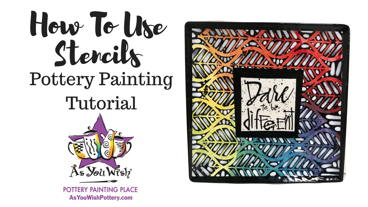 How to Use Stencils on Pottery |As You Wish Pottery Painting Place