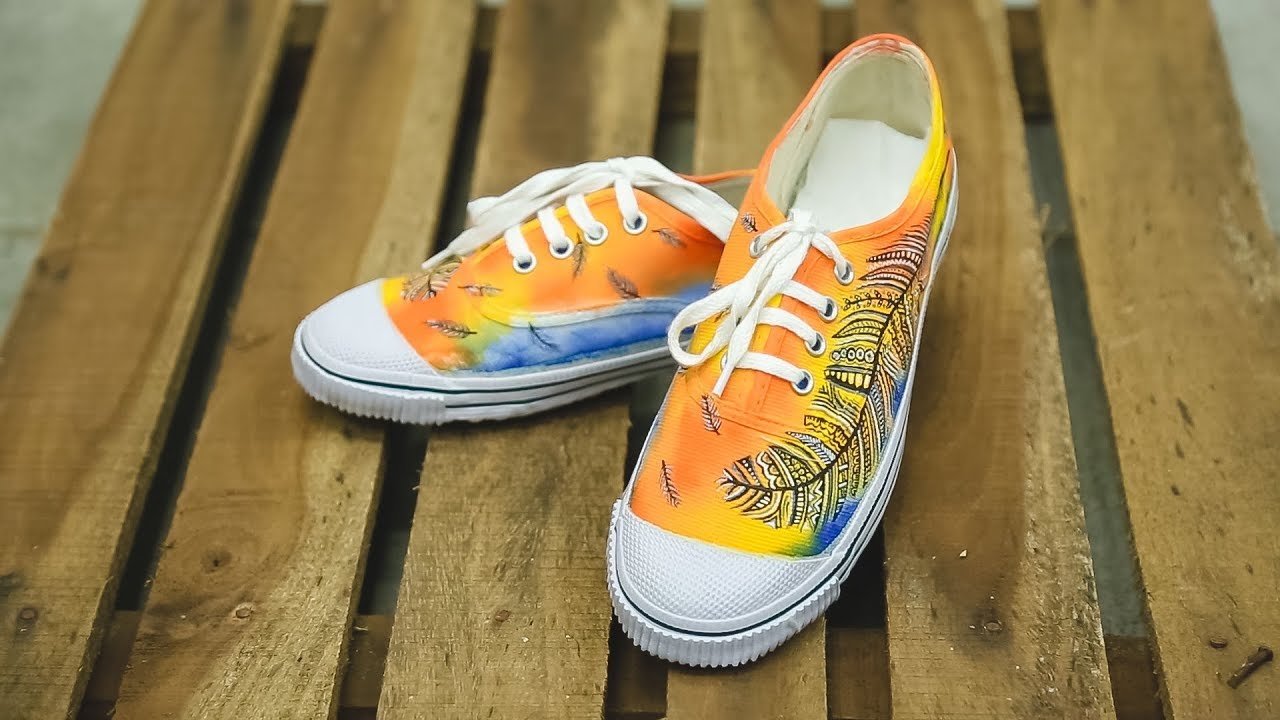 How To Paint On Canvas Shoes Youtube