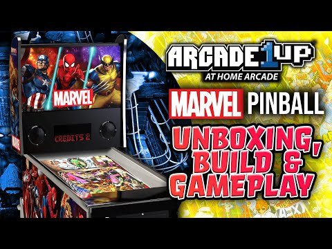 Marvel Pinball Machine by Arcade1Up - Unboxing, Build & Game Play of Wolverine & Spider-Man from JLS Gaming