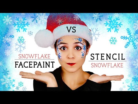 Snowflake Stencils V.S. Hand Painted - Face Paint tutorial