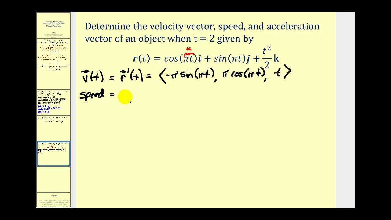 Determining Velocity Speed And Acceleration Using A Vector Valued