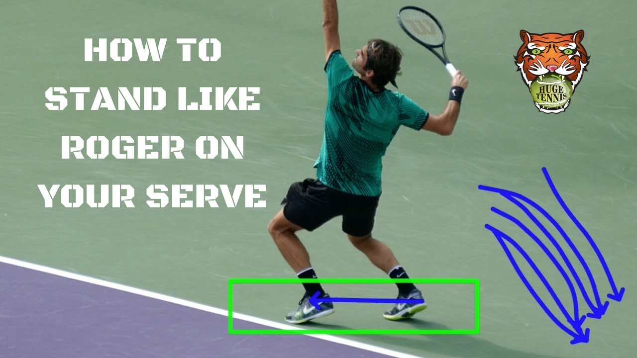 How To Stand Like Roger Federer On Your Serve Youtube