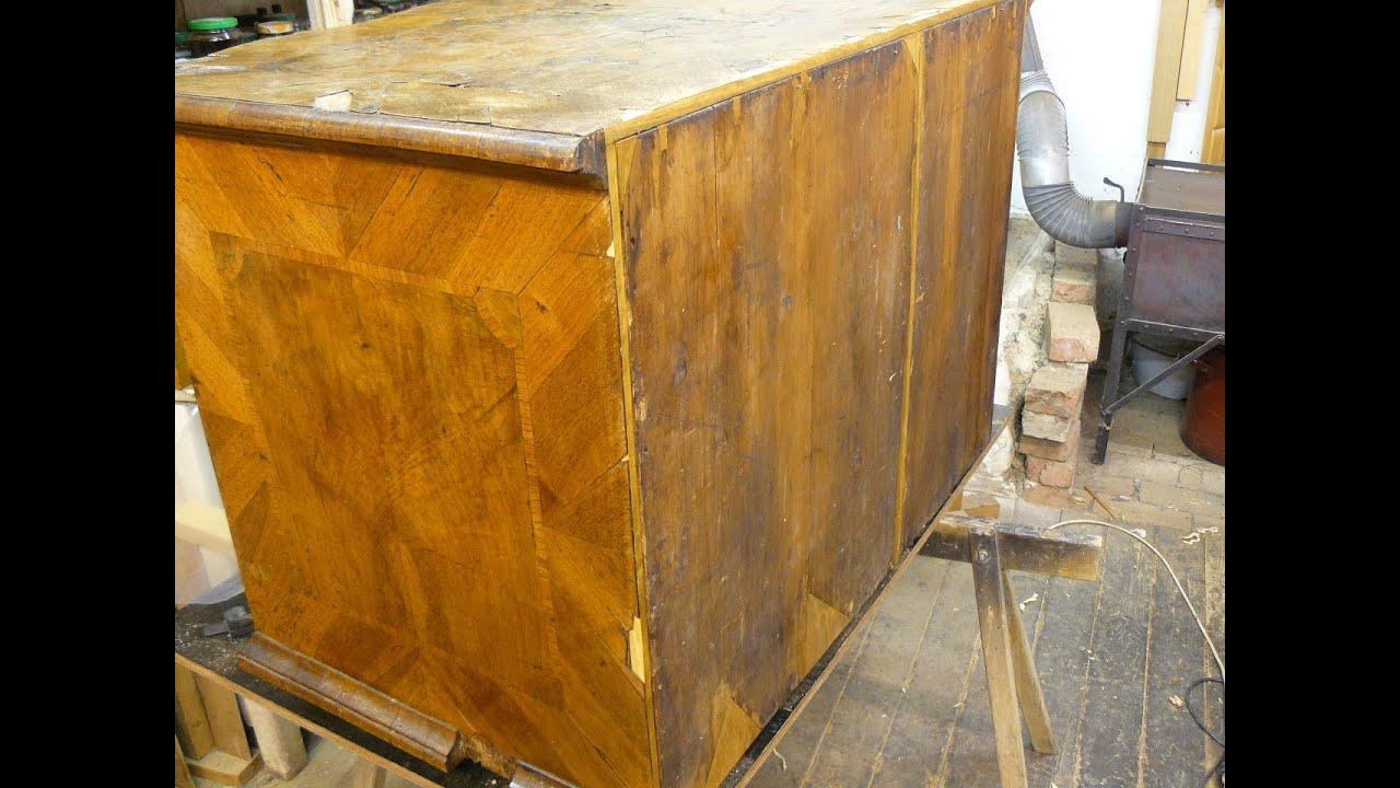 Barockkommode restaurieren Teil 2 Rückwand und Boden vom Restaurator