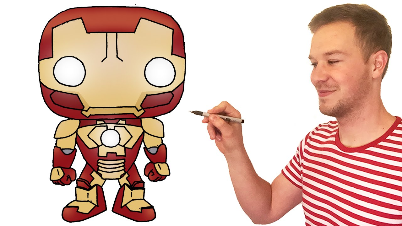 how to draw chibi iron man cute kids art lesson youtube