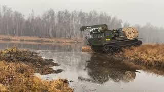 Атс 59 с грузом 7 тонн через реку