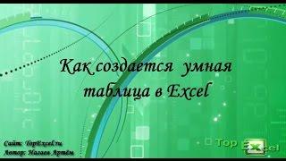 Как создается  умная таблица Excel
