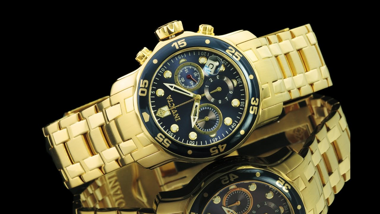 235420a3e Invicta 0073 48mm Pro Diver Scuba 18kt Gold Plated Chronograph Bracelet  Watch