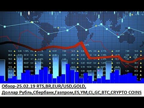 Обзор-25.02.19 RTS,BR,EUR/USD,GOLD, Доллар Рубль,Сбербанк,Газпром,ES,YM,CL,GC,BTC,CRYPTO COINS