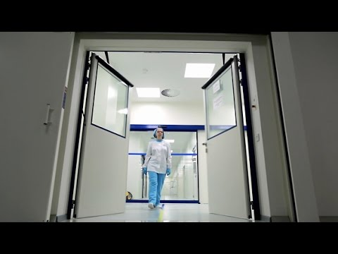 Stock Footage   Automatic Door in a Hospital Medical Laboratory
