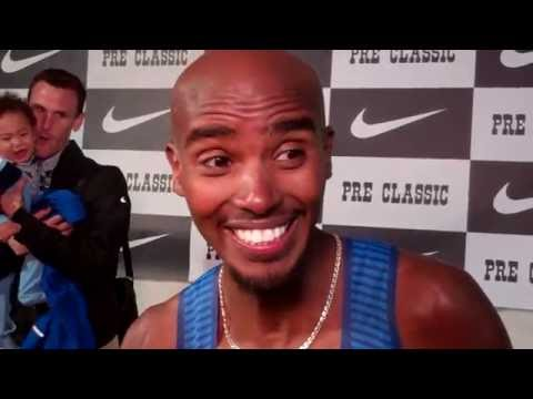 Mo Farah After Winning 10000m at 2016 Pre Classic