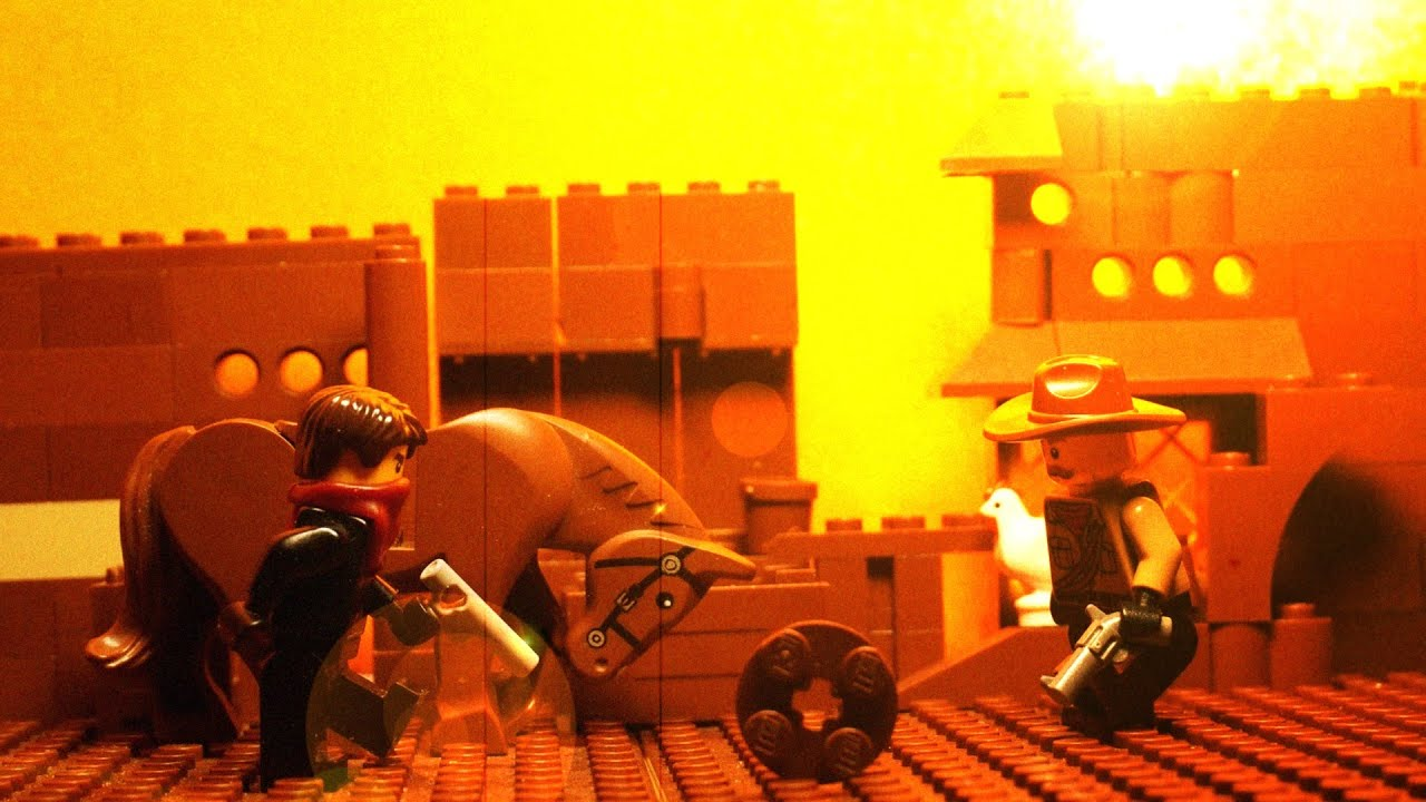 레고 스톱모션 서부 카우보이 눈치 싸움