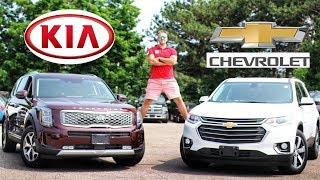New Kia Telluride vs Chevrolet Traverse | 3 Row Seater Battle | Full Comparison