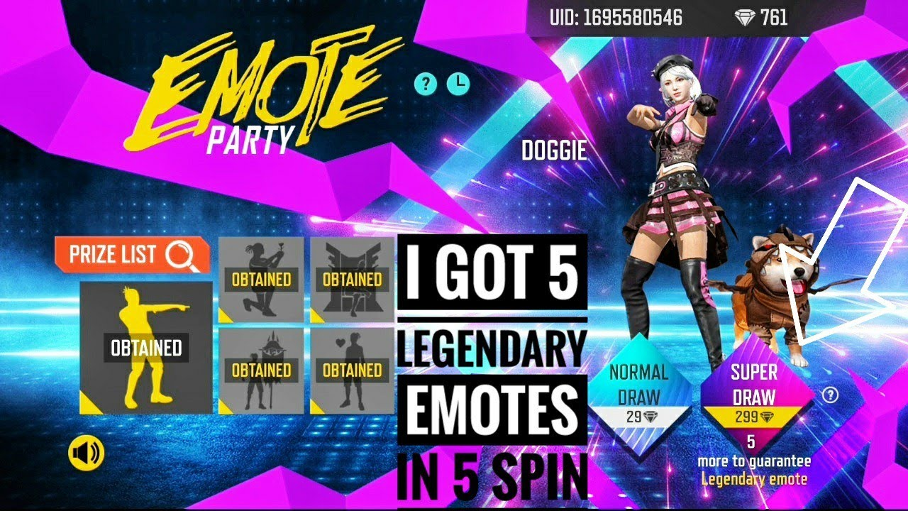 i got 5 legendary emotes in 5 spins from emote party event in free fire by boss