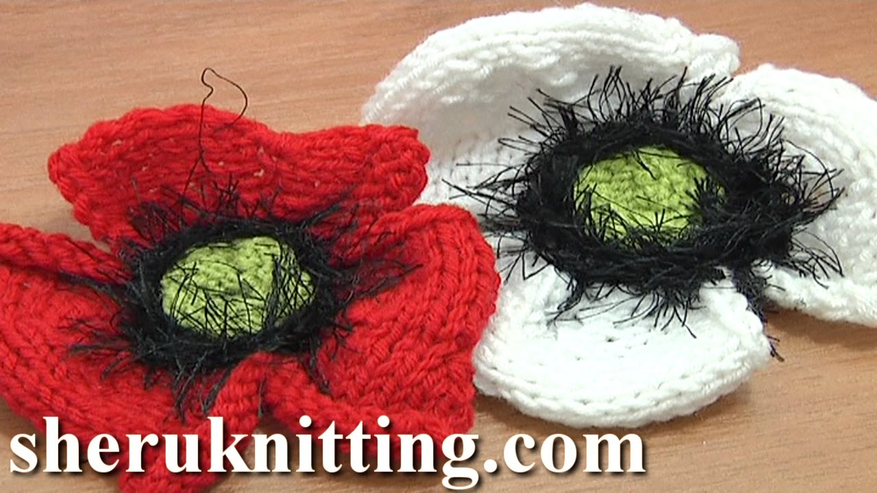 Knitted poppy flower tutorial 25 part 2 of 2 knitting flower knitted poppy flower tutorial 25 part 2 of 2 knitting flower library youtube bankloansurffo Image collections