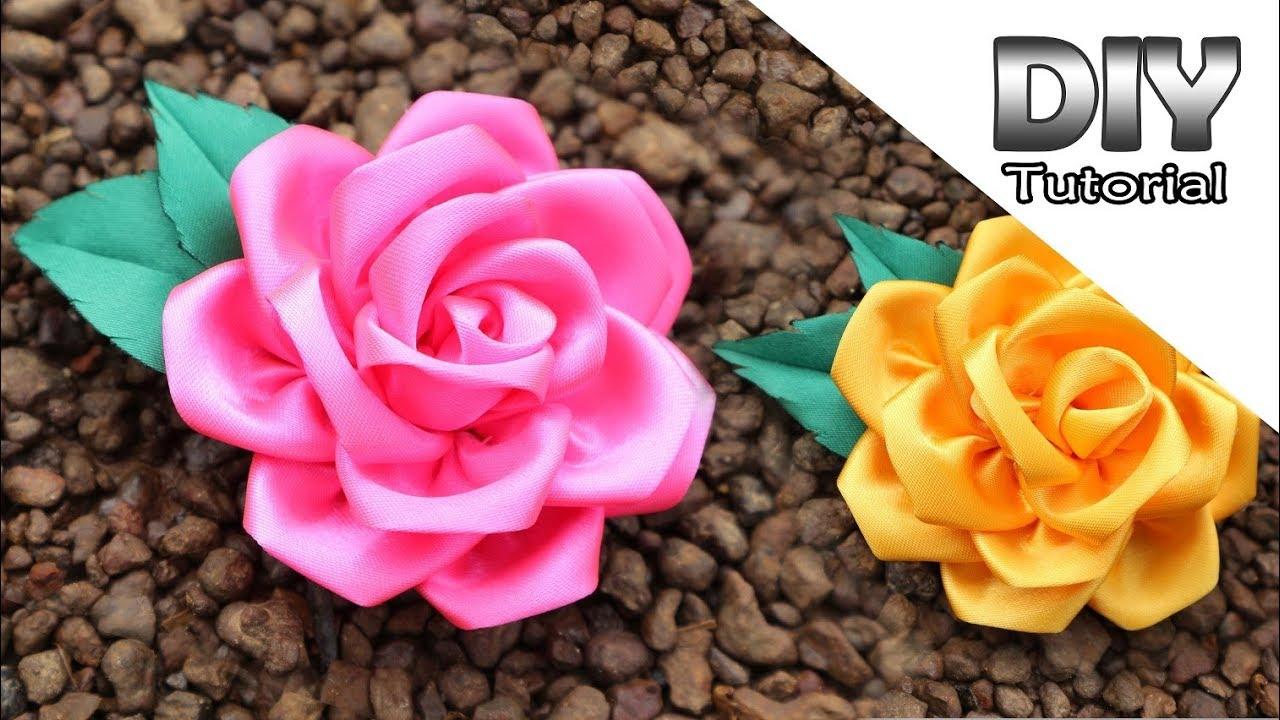 DIY   How to make Kanzashi Flower Roses from Satin Ribbon 20 cm   Membuat  bunga mawar pita satin