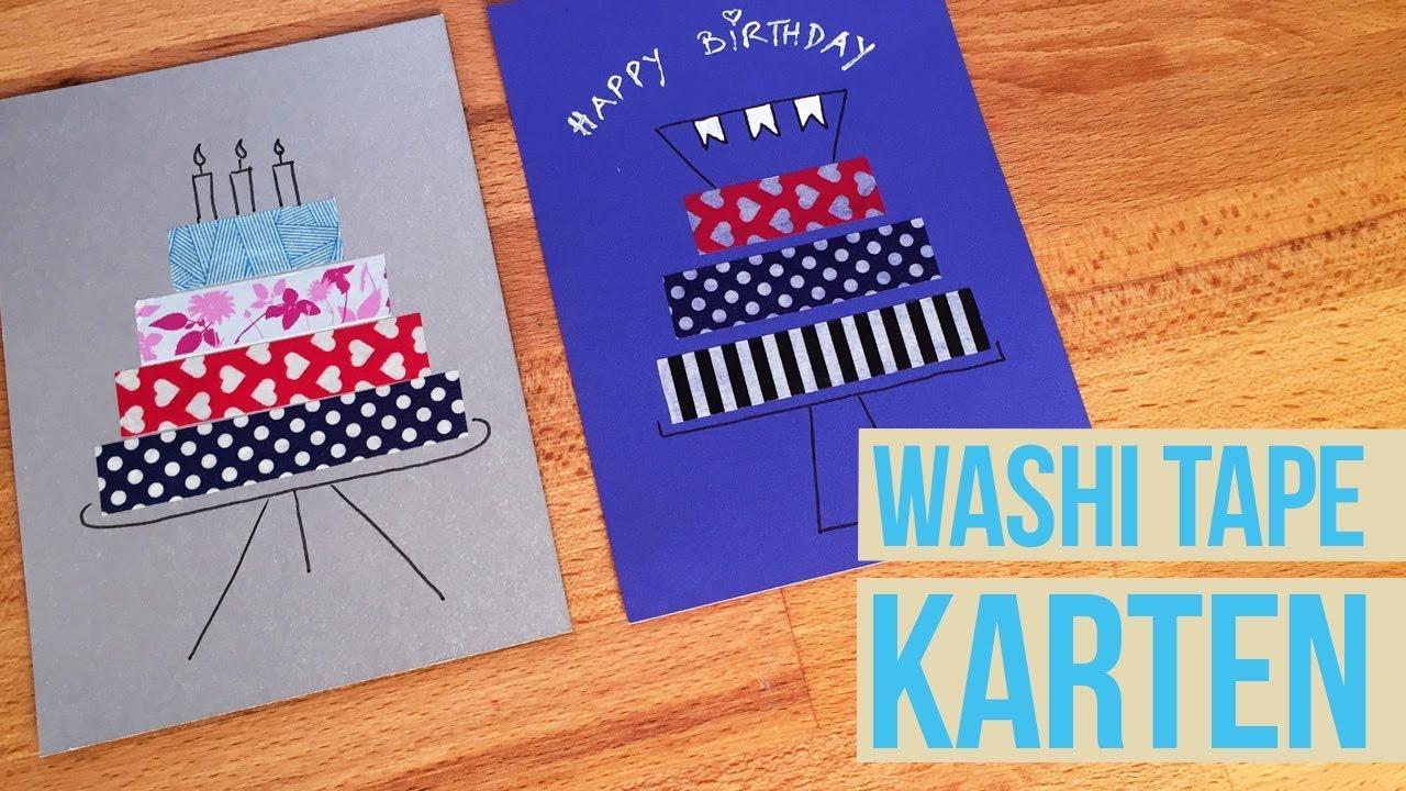 washi tape karte i diy cards i geburtstagskarte youtube. Black Bedroom Furniture Sets. Home Design Ideas