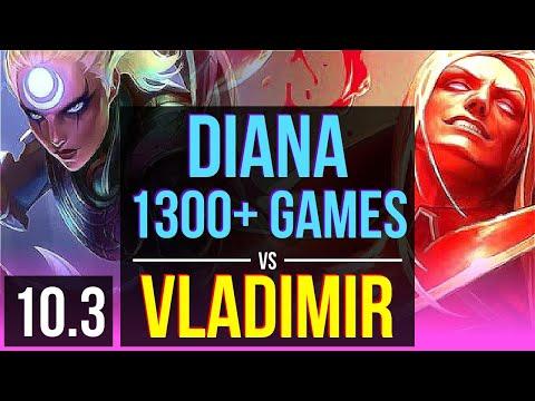 DIANA Vs VLADIMIR (MID) | 1300+ Games, 1.1M Mastery Points, Triple Kill | EUW Master | V10.3