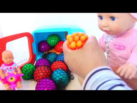 Squishy Ball Play Doh : Baby doll Squishy Stress Mesh Balls Learn Colors for Children Play Doh - YouTube