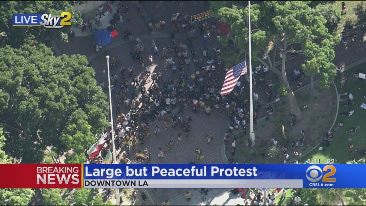 Large Peaceful Protest In Downtown Los Angeles
