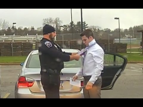Officer Pulls Over Student, Teaches Him to Tie a Tie