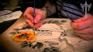 "Tattoo Flash Watercolour Speed Painting Illustration ""Weirdo"" Time Lapse"